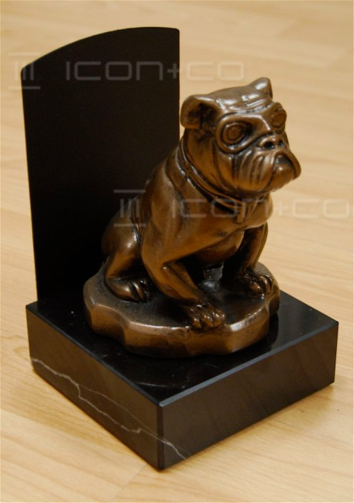 fake cast bronze POS prop, countertop pos bulldog, marble, fake brass, promotional creative marketing campaign too prop, metal paint effects, faux cast metal, alfred dunhill, point of sale, prop-making moulding props