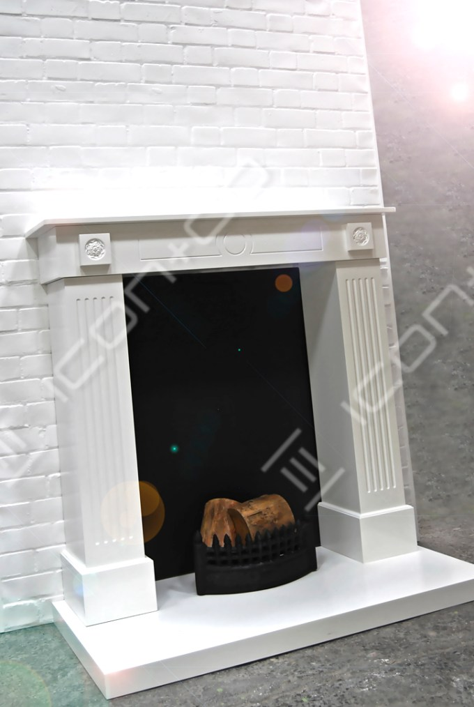 fake fireplace display prop Xmas interior, faux fireplace santa props