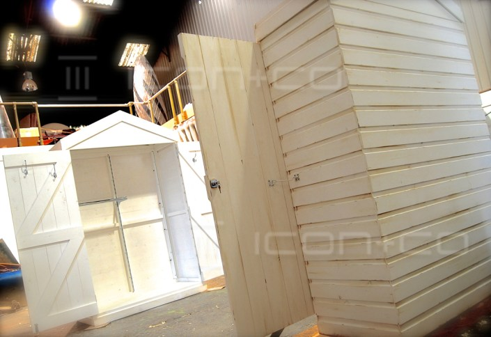 shop display manufacturers, pop-up, faux timber booth, fake shed