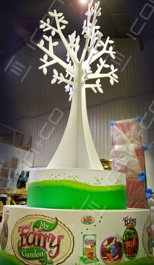 mdf large display tree props, wooden timber display trees, spring summer retail shop plinth