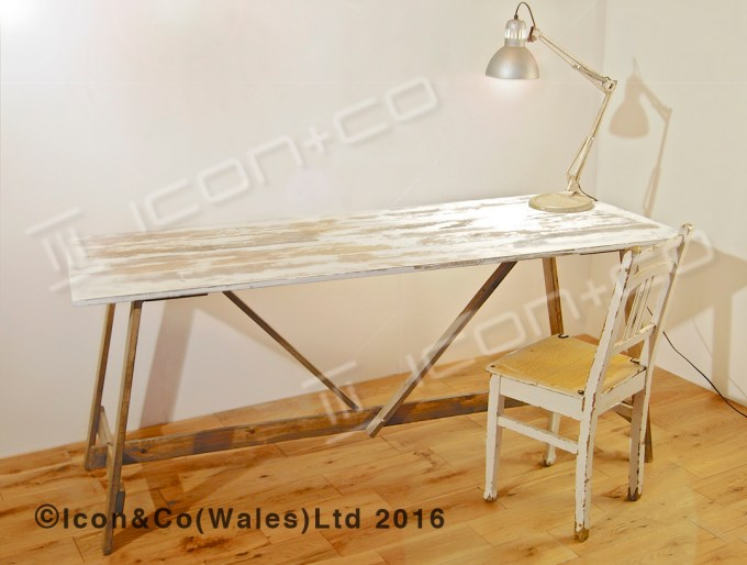 shabby chic distressed paint finish retro industrial urban vintage fold down fold-away trestle desk, with extra display shelf, retail shop display tables, pair twin table set, nesting nest, picnic, work bench, dining room