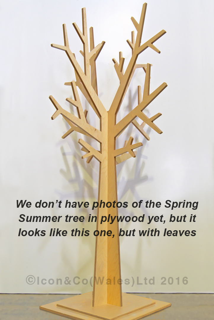 plywood ply MDF display tree, fall, autumnal, Spring Summer, stylised, mdf display feature, shop retail store window scheme, flat-pack, interlocking self-assembly, bare