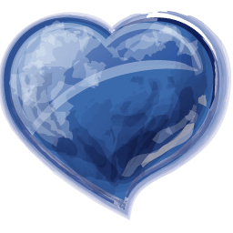 Glossy Blue Heart Icon PNG ClipArt Image