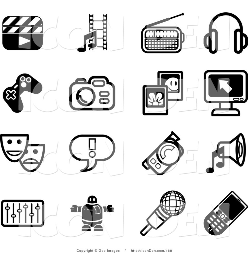 medium resolution of clip art of a collection of black and white film icons