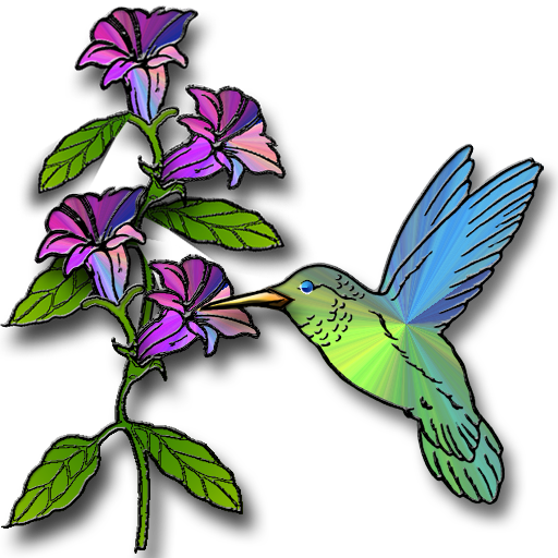 hummingbird with flowers clipart