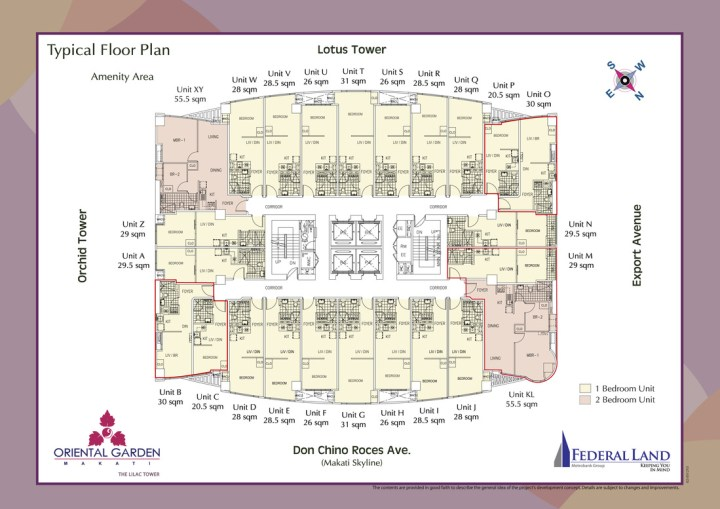 floor plan - one lilac place at oriental garden makati