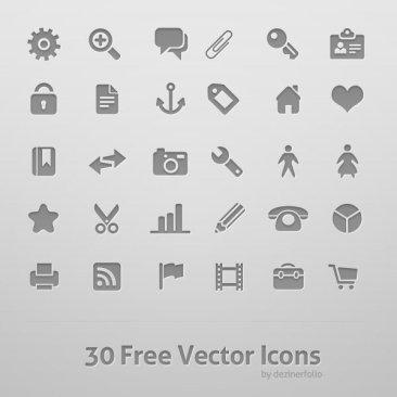 30 icônes vectorielles
