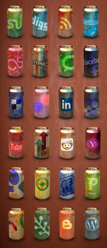 Icônes sociales canette soda
