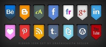 Icônes sociales ruban