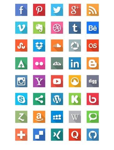 40 Social Media Flat Icones