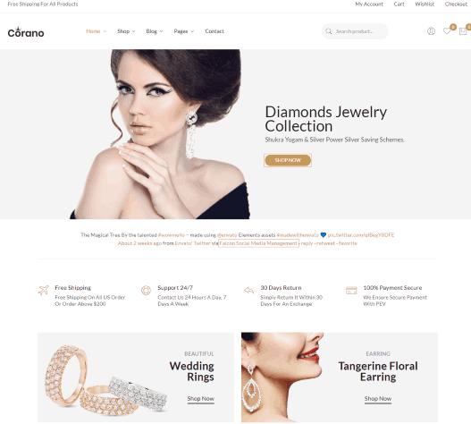 Corano a jewellery ecommerce website template
