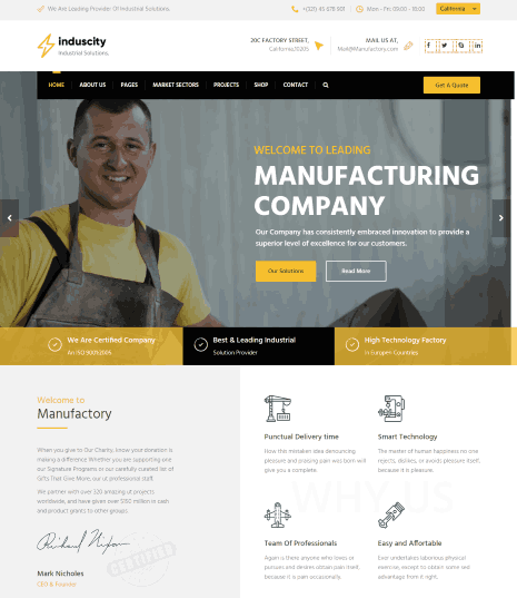Induscity a Factory and Manufacturing WordPress Theme