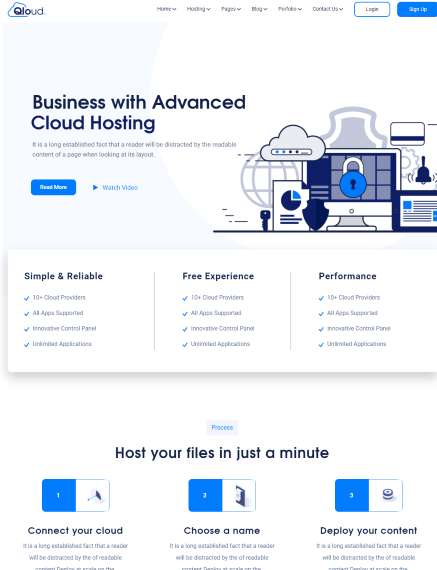 Qloud a Minecraft Server, WHMCS, Cloud Computing, Apps & Server WordPress Template