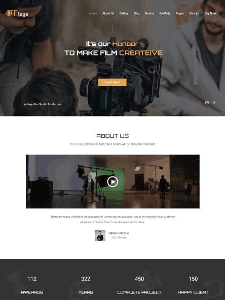 Ftage - Movie Production & Film Studio WordPress Theme
