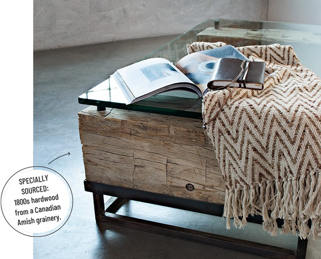 Peter Thomas Designs - builds are with reclaimed wood - Beam coffee table