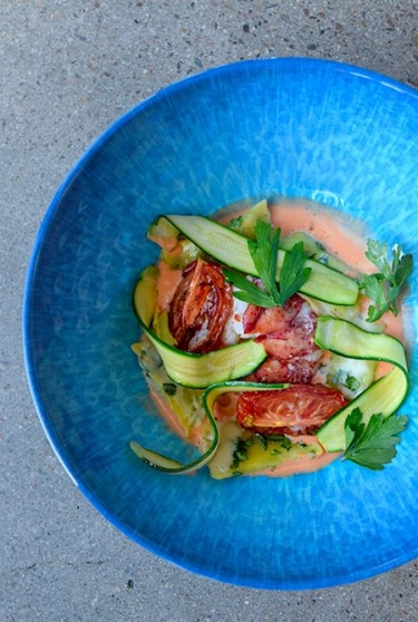 Maine lobster with spinach agnolotti, asparagus and coral Chef Alessandro Stratta
