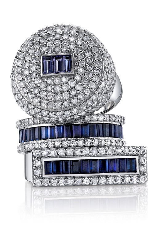 Sheryl Lowe Jewelry - PAVE and SAPPHIRE RING STACK