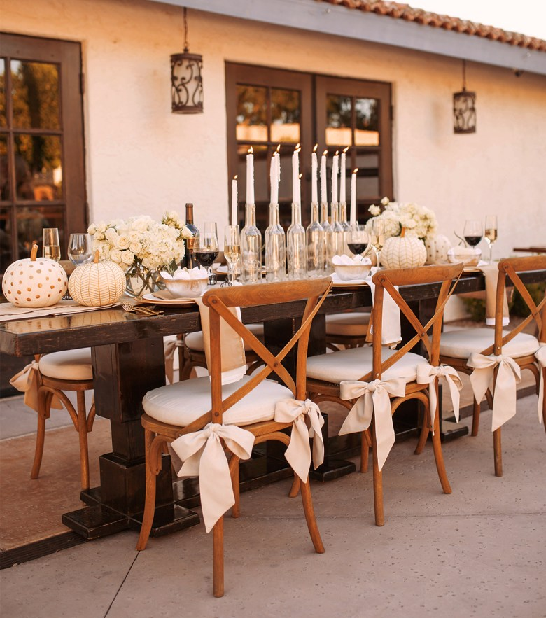White pumpkins and candles for Fall tablescapes