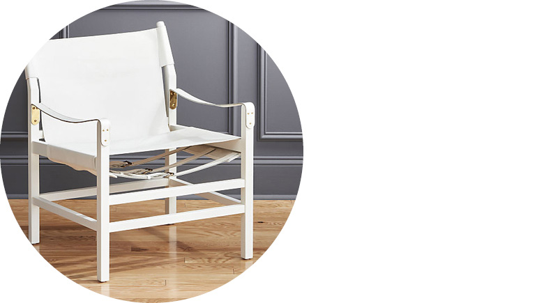 Expat II White Leather Safari Chair by CB2