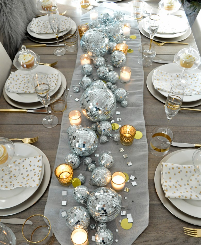 New Years Eve Tablescape by Life is a Party - Silver and gold