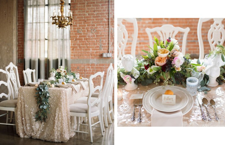 New Years tablescape sequins by Green Wedding Shoes