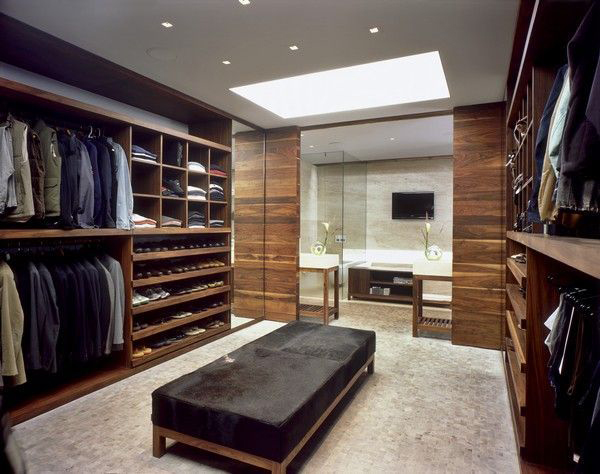 Sleek and modern walk-in wardrobe