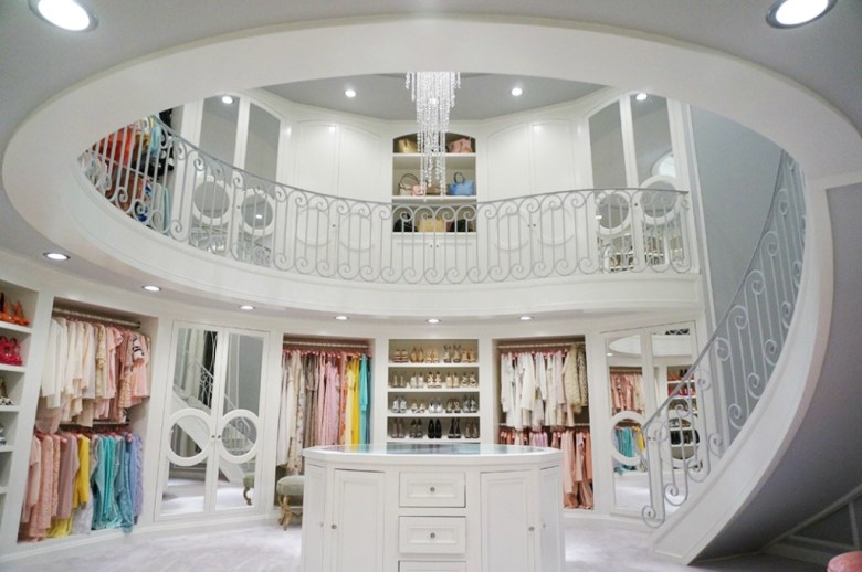 two story circular walk-in wardrobe