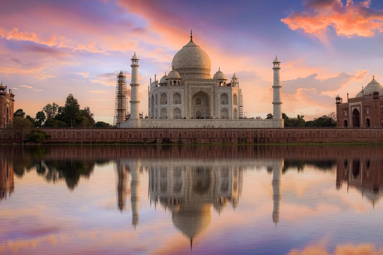 Taj Mahal at Sunset in Agra India