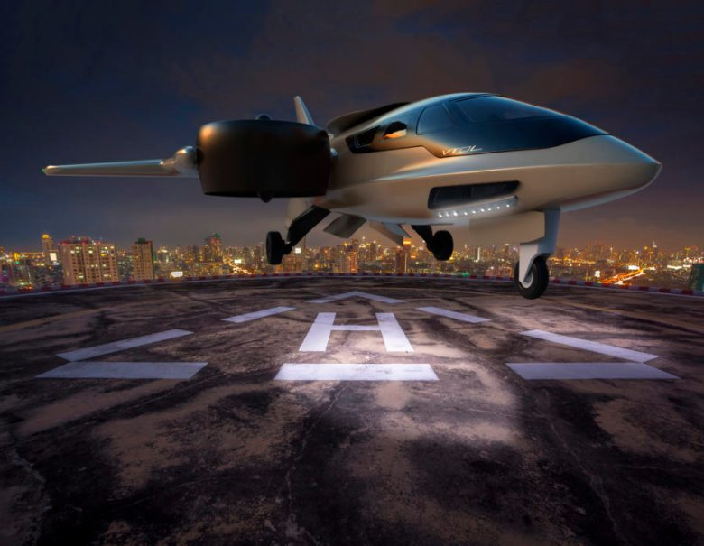 XTI TriFan 600 on a Helipad at Night