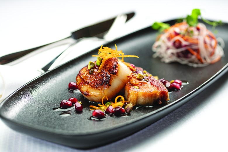 Seared Diver Scallops on board Regent Cruise Lines