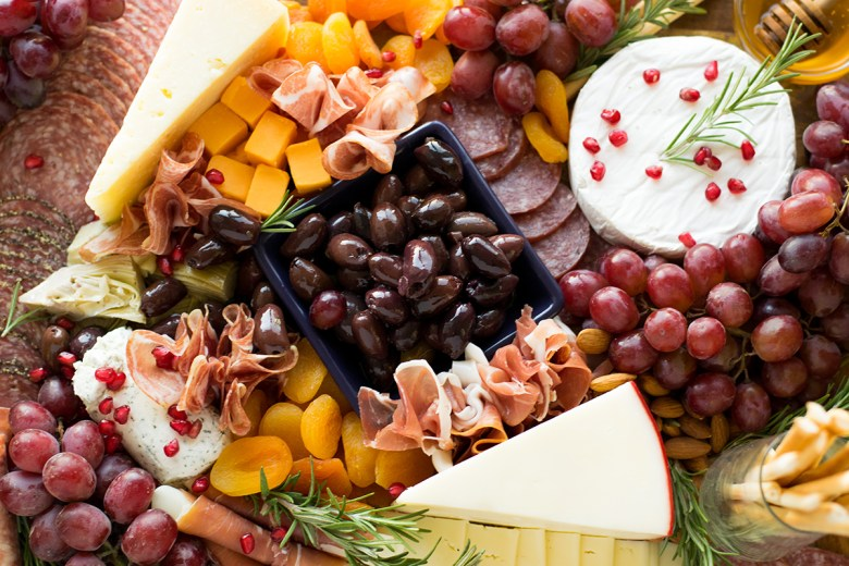 Fall food and wine pairing with cheese board