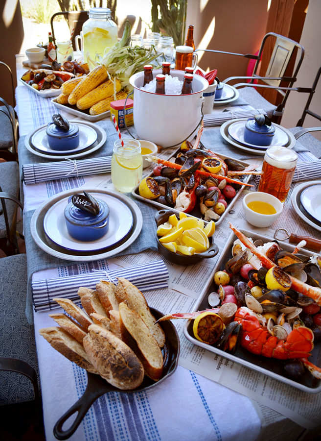 Clambake entertaining and tablescape