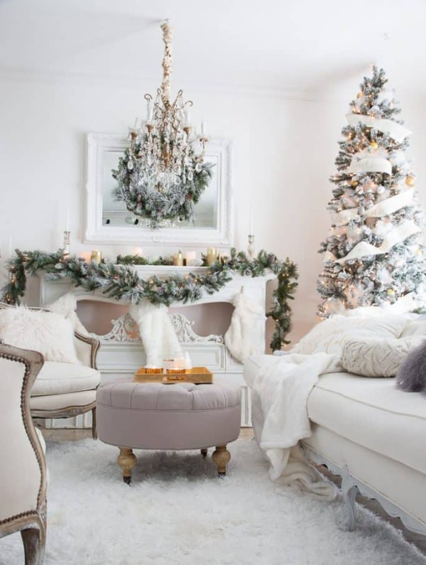 Elegant Christmas tree decorated in all white