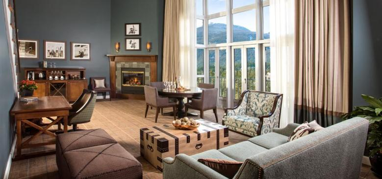Fairmont Whistler Canada suite with fireplace