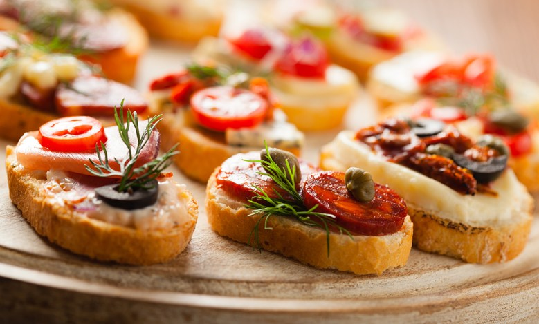 Fancy cocktail party appetizers crostini