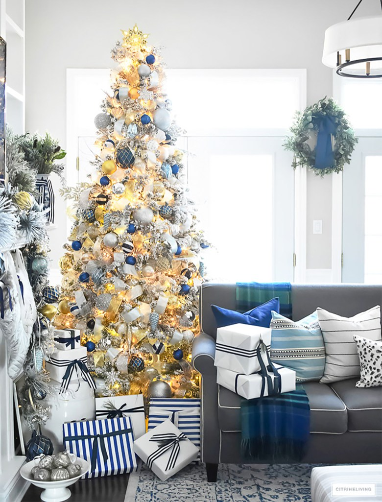 Navy Silver and gold elegant Christmas tree decorations