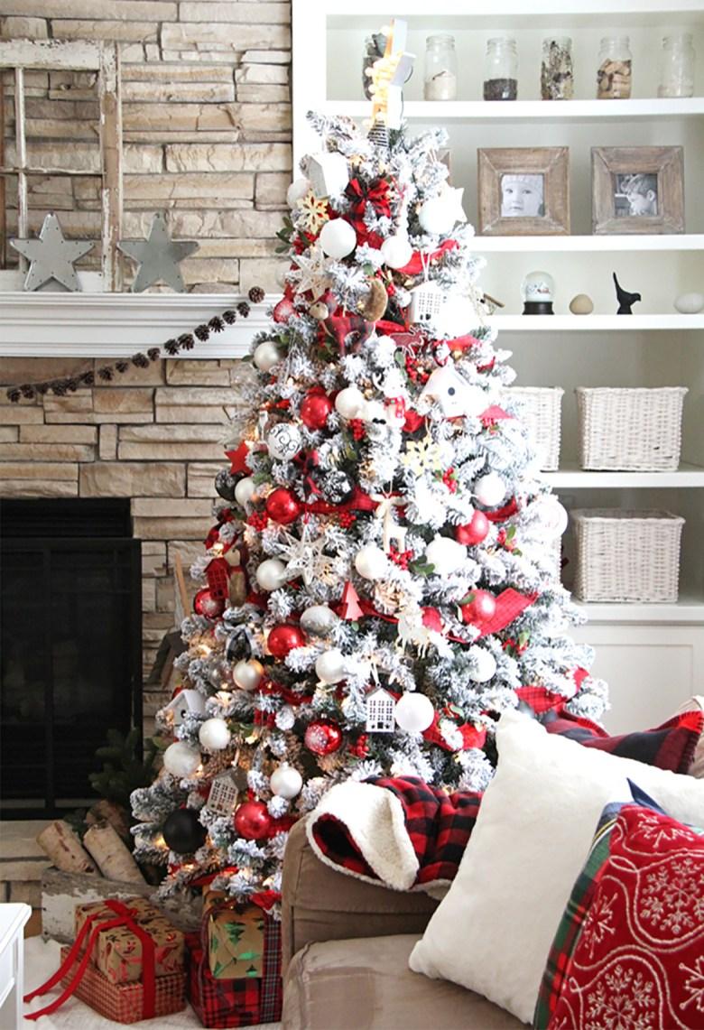 Red and white elegant Christmas tree