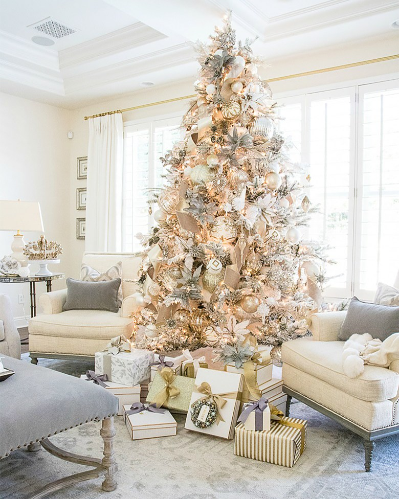 Silver and gold traditional elegant Christmas tree