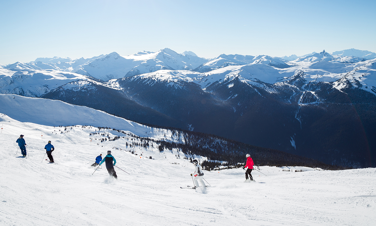 Whistler Blackcomb mountain with skiiers
