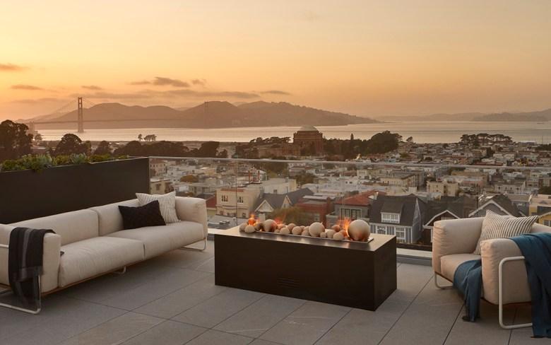 Patio sunset at San Francisco wellness estate