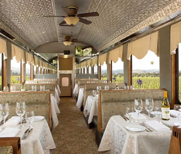 dining car on the Napa Valley Wine train