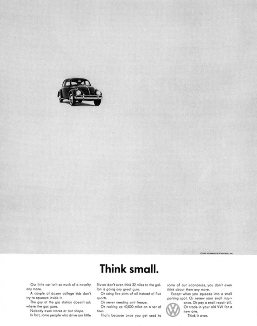 """A 1960 version of DDB's """"Think small"""" ad, Volkswagen Beetle"""