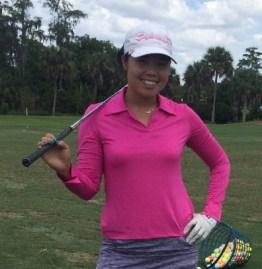 Esther Choe LPGA Tour wearing our fuchsia pasatiempo polo