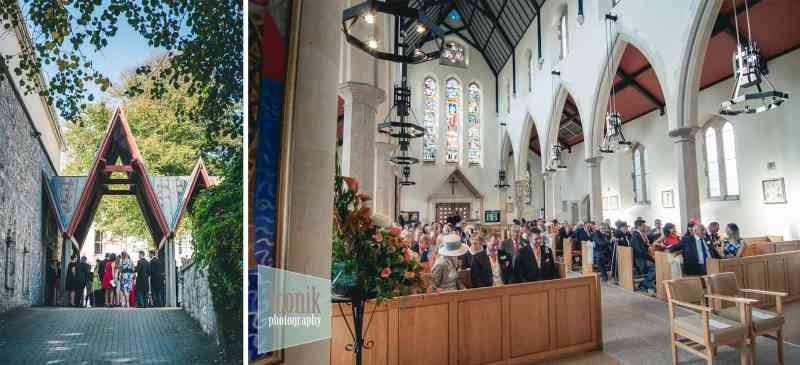groom waiting for the bride at Plymouth Cathedral by iconik Photography