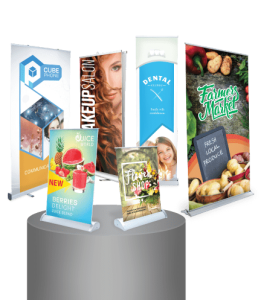 Custom retractable banners with stands