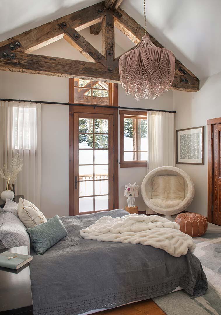 Interior design bedroom with chandelier