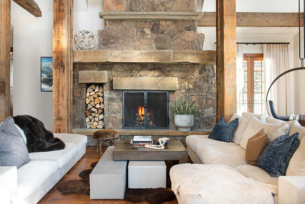Designed living room with fireplace