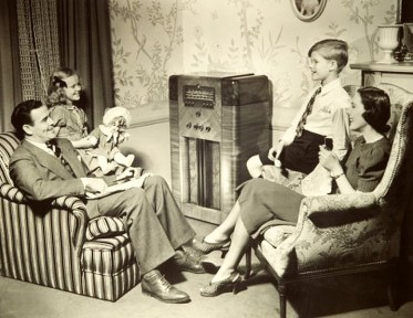 A family listening to the radio in the 1940s