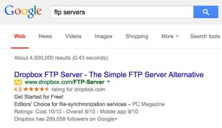 Dropbox advertises on FTP server searches already.