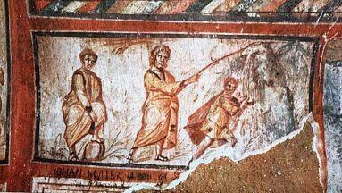 Cat. S. Callisto. Moisés hace brotar agua de la roca. Siglo III.